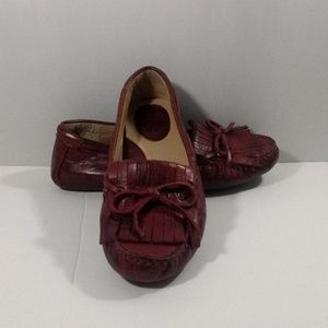 Women's Red Leather Frye Driving Loafers